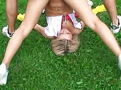 Sabrina Blond shows unusual sex pose