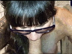 Two salacious vintage brunettes gives simultaneous blowjob to a duo of studs