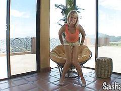Young Blonde Sasha Von fingers her ass