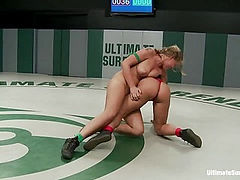 Blond athletic rookie vs Sexy Hawaiian veteran in a non-scripted wresting match. Brutal action.