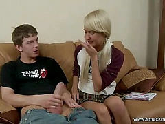 Pigtailed teen with pink pussy