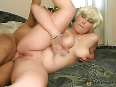Blonde with elastic breast fucks with guy