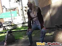 Public jeans wetting