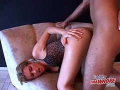 Slut lingerie on whore fucking a black cock