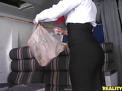 new flight attendant for RK Airways!!! Hottest ass curves in black stockings