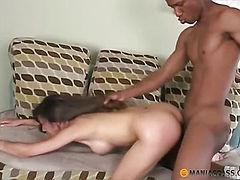 Brunette fucks with black guy