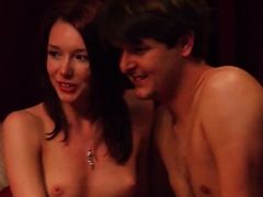 Young brunette Sara gives blowjob to one old dude