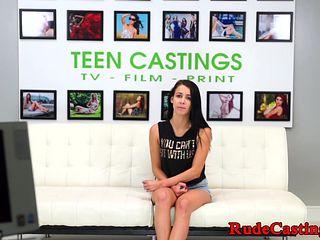 Young amateur rides big cock at casting