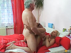 Blonde fucking with mature guy