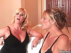 Skilled older lesbi couple toying asses