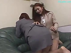 2 Office Ladies Spanking Each Other Sucking Nipples Pussies Rubbed And Fingered By Guy On The Couch