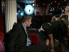 Hot stockings fetish girls fucked in a bar