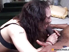 Brunette sucks dick in a black guy
