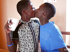 Young Black Africans Bareback Threesome Fuck