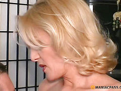 The girl with white hair fucks with guy