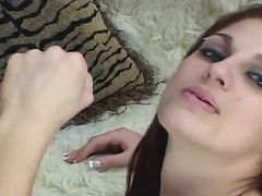 Sensuous red head teases and strokes A bat