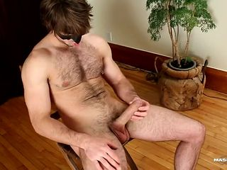 Solo hairy hunk jerks off and cums