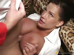 Girl fucks with a man in his chest