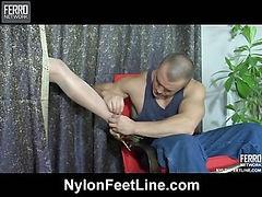 Clothilda&Nicholas nylon footfuck video