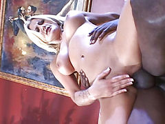 Girl sits on his big cock anal