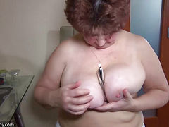 Chubby granny masturbation, Nice threesome, young girl and guy