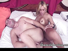 Busty shemale gets pounded in her ass