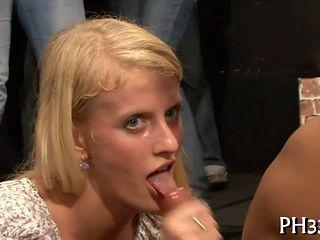 Horny Slut Sucks A Fat Prick In Public Orgy Party