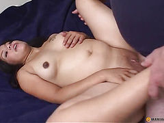 Cute pregnant girl fucks with a guy