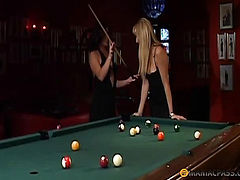 On a pool table with a friend fondles pussy