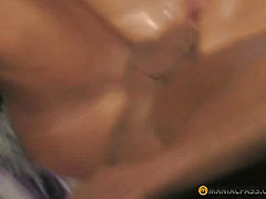 Babe with smooth pussy fucking with a man