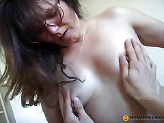 Fucks woman in her hairy pussy