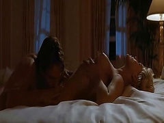 Sharon Stone naked lying on her back as a guy kisses her breasts and then goes down on her for a while. She then rolls over on top of a guy and rides him, throwing her head back and showing her breasts. She then leans over forward, revealing her bare butt