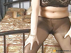 Lying on the bed broke up pantyhose