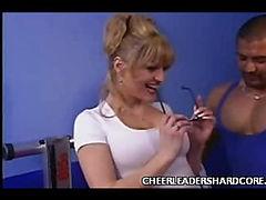 Busty Cheerleader Brittany Threesome