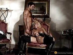 The girl stroking his cock and sucks guy