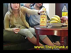 Drunk chick sucks his fat dick
