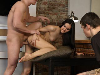 Brunette beauty gets her tight pussy drilled in front of her cuckolded BF