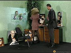 Kneeling sucks dick man