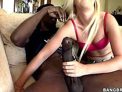 Blonde Girl Loves The Black Cock