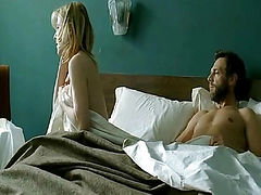 Valeria Bruni Tedeschi nude on bed while a guy has sex with her from behind,despite Valeria not being interested.From 5x2.