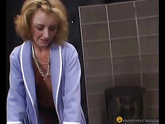 Mature blonde enjoys the body of a young heifers