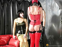 Nylon suit pulls at her friend