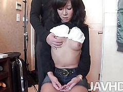 Cute and perky Kikue has her top and bra up as she is fondled before she rides a hard cock bareback