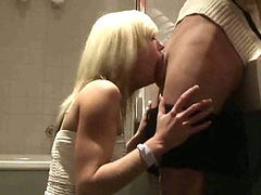 Hot blonde amateur deepthroats his cock