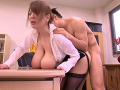Secretary slut with massive Japanese titties gets laid