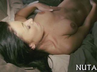 Big Breasted Black Haired Babe Fingers Her Juicy Cunt Solo