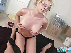 Sindy Lange gives handjob in the bedroom