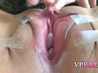 Asian Babe Is Spreading Her Shaved Pussy And Showing