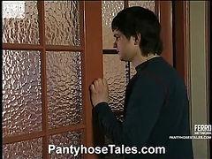Laura&Peter&Adam pantyhose orgy on video