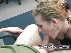 Horny blonde housewife Chastity is sucking cock